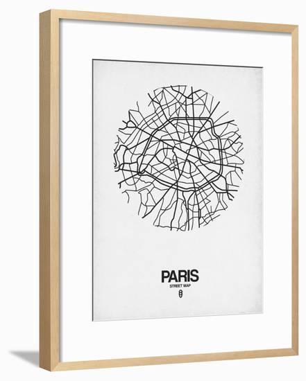 Paris Street Map White-NaxArt-Framed Art Print