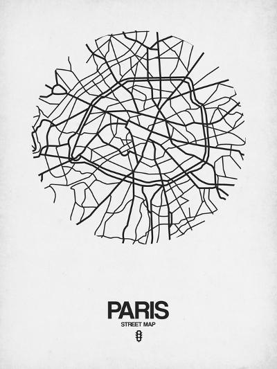 Paris Street Map White-NaxArt-Art Print
