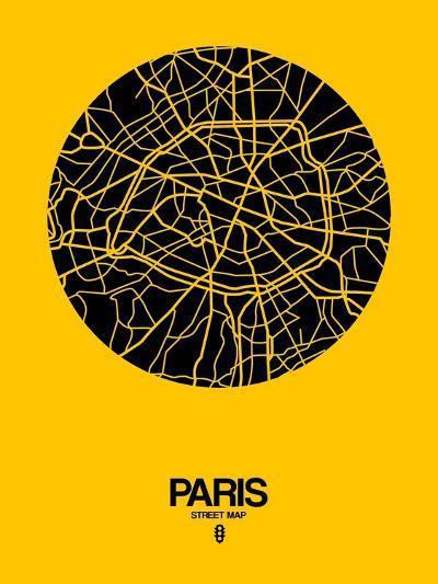 Paris Street Map Yellow-NaxArt-Art Print