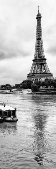 Paris sur Seine Collection - Barges along River Seine with Eiffel Tower I-Philippe Hugonnard-Photographic Print