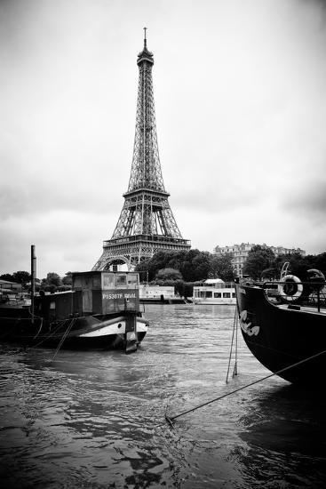 Paris sur Seine Collection - Barges along River Seine with Eiffel Tower III-Philippe Hugonnard-Photographic Print