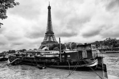Paris sur Seine Collection - Barges along River Seine with Eiffel Tower IX-Philippe Hugonnard-Photographic Print