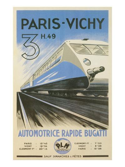 Paris to Vichy Train Poster--Art Print