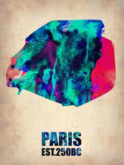Paris Watercolor Map-NaxArt-Art Print