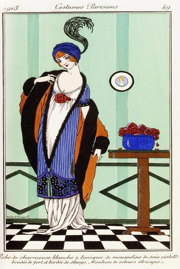 Parisian Clothing: White Charmeuse Robe with Violet Embroidered Silk Tunic, 1913-Robert Pichenot-Giclee Print