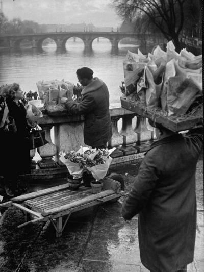 Parisian Flower Vendor at Work Stocking His Stall on the Seine with the Pont Neuf in the Background-Ed Clark-Photographic Print