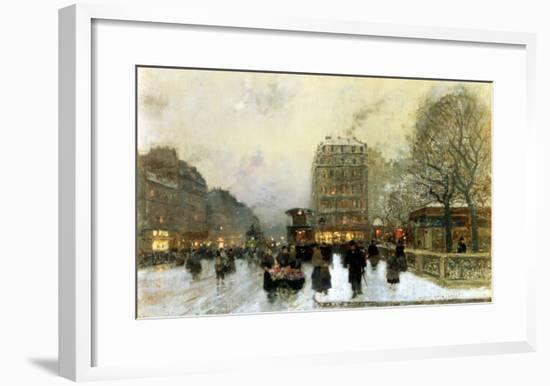 Parisian Street Scene in Winter-Luigi Loir-Framed Giclee Print