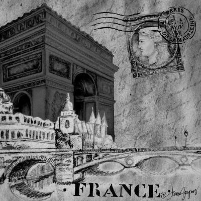 Parisian Wall Black II-Janice Gaynor-Art Print