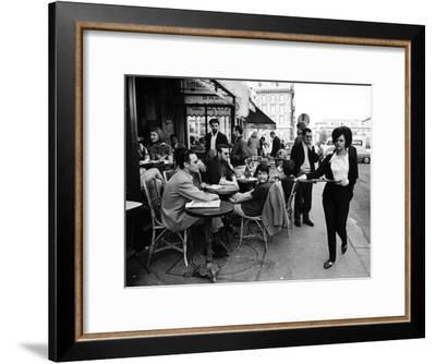 Parisians at a Sidewalk Cafe-Alfred Eisenstaedt-Framed Premium Photographic Print