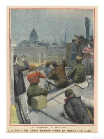 Parisians Gather on Their Rooftops to Observe Halley's Comet--Giclee Print