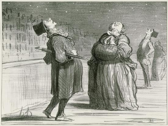 Parisians Waiting for the Famous Comet, 1857-Honore Daumier-Giclee Print