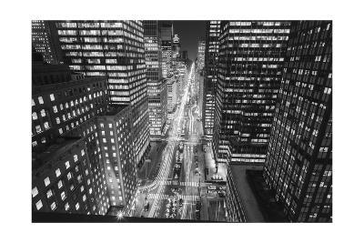 Park Avenue at Night - Aerial View Of Midtown Manhattan Iconic Nyc-Henri Silberman-Photographic Print