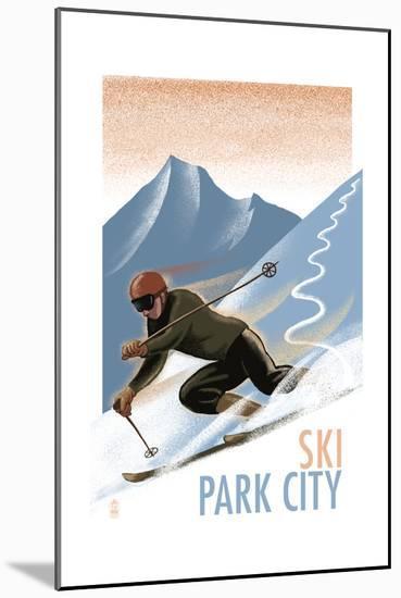 Park City, Utah - Downhill Skier Lithography Style-Lantern Press-Mounted Art Print