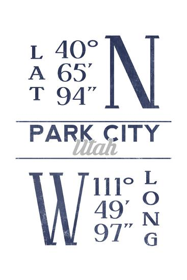 Park City, Utah - Latitude and Longitude (Blue)-Lantern Press-Art Print