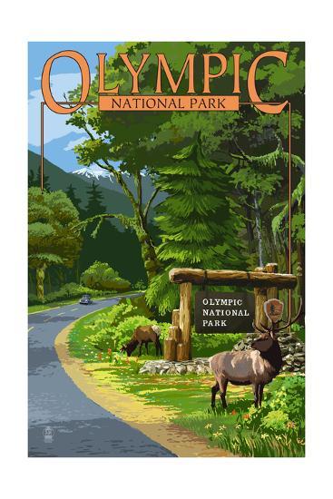 Park Entrance and Elk - Olympic National Park, Washington-Lantern Press-Art Print