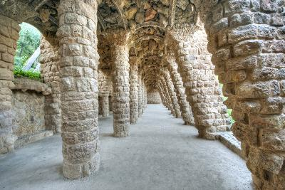 Park Guell Colonnaded Footpath, Barcelona, Spain-Rob Tilley-Photographic Print