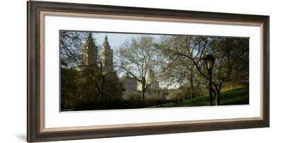 Park in Front of a Building, Central Park, New York City, New York State, USA--Framed Photographic Print