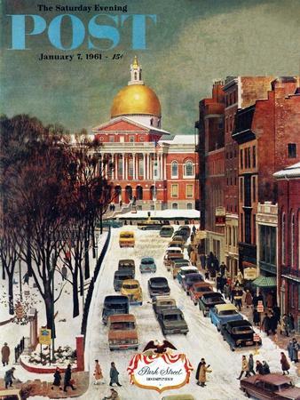 """Park Street, Boston,"" Saturday Evening Post Cover, January 7, 1961-John Falter-Premium Giclee Print"