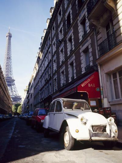 Parked Citroen on Rue De Monttessuy, with the Eiffel Tower Behind, Paris, France-Geoff Renner-Photographic Print