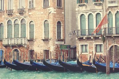 Parked Gondolas Along the Grand Canal of Venice, Veneto, Venice District, Italy-ClickAlps-Photographic Print