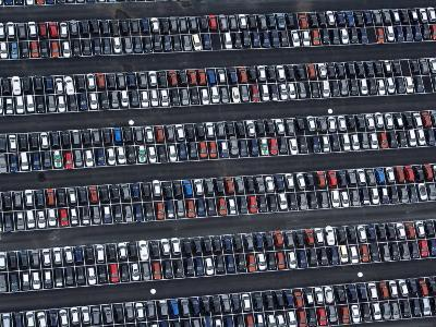 Parked VW Cars at the Wolfsburg Manufacturing Plant-Michael Polzia-Photographic Print