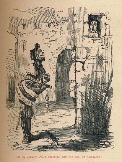 'Parley between Piers Gaveston and the Earl of Pembroke.', c1860, (c1860)-John Leech-Giclee Print