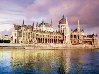 Parliament Building and Danube River, Budapest, Hungary-Miva Stock-Photographic Print