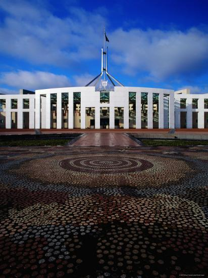 Parliament House with Mosaic in Foreground, Canberra, Australian Capital Territory, Australia-Richard I'Anson-Photographic Print
