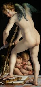 Bow-Carving Cupid, Between 1534 Und 1540 by Parmigianino