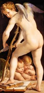 Cupid Carving a Bow, 1533/34 by Parmigianino