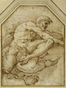 Male Figure, Born Aloft in Clouds by Putti by Parmigianino