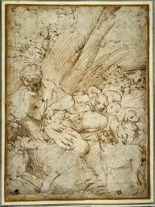 Shepherd Boy Holding a Pipe, Resting under a Tree with His Dog Among their Flock by Parmigianino