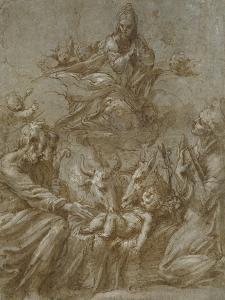 The Nativity of Christ (Pen and Brown Ink Washed in Grey and Heightened with White Bodycolour on Bl by Parmigianino