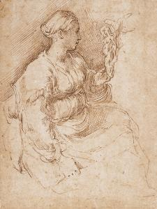 Woman Seated Holding a Statuette of Victory, C.1524 by Parmigianino