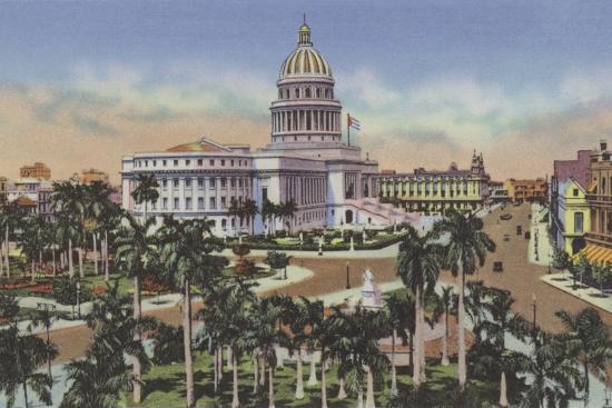 Parque De La Fraternidad Y Capitolio, Fraternity Square and Capitol--Photographic Print