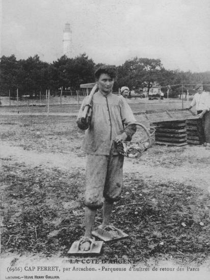 Parqueuse d'Huitres, Oyster Gatherer, of Cap Ferret Near Arcachon in South- West France--Photographic Print