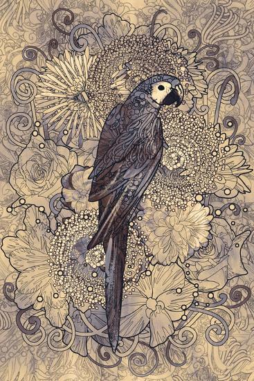Parrot Line Art with Monochrome Pattern on Floral Design Element,Illustration-Tithi Luadthong-Art Print