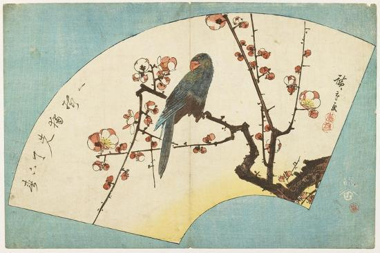Parrot on a Flowering Plum, Mid 19th Century-Utagawa Hiroshige-Giclee Print
