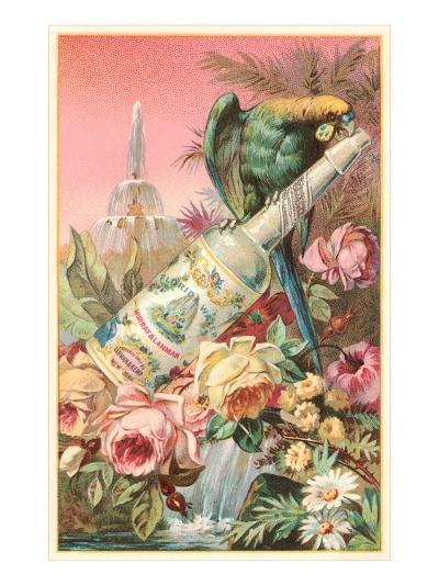 Parrot on Bottle with Roses--Art Print