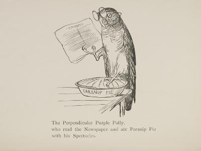 Parrot Reading Newspaper, Nonsense Botany Animals and Other Poems Written and Drawn by Edward Lear-Edward Lear-Giclee Print
