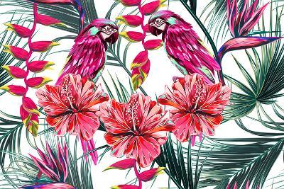 Parrots, Tropical Flowers, Palm Leaves, Hibiscus, Bird of Paradise Flower, Jungle, Beautiful Seamle-NataliaKo-Art Print