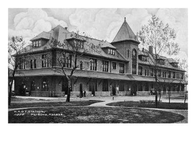 Parsons, Kansas - Missouri, Kansas, and Texas Railroad Station-Lantern Press-Art Print