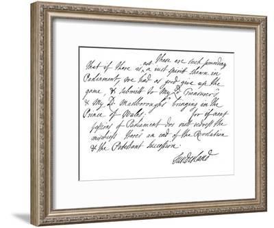 Part of a Letter Written by Charles Spencer, 3rd Earl of Sunderland, 1678--Framed Giclee Print