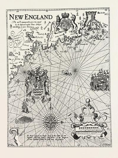 Part of Captain J. Smith's Map of New England, USA, 1870s--Giclee Print