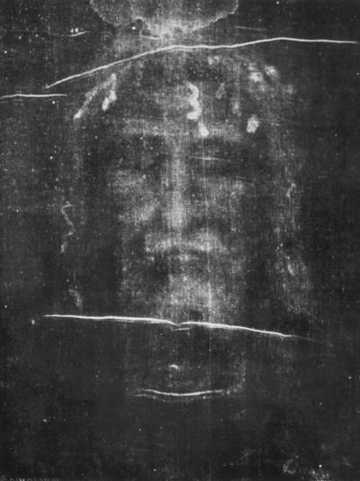 Part of the First Photograph of the Shroud Showing the Face--Photographic Print