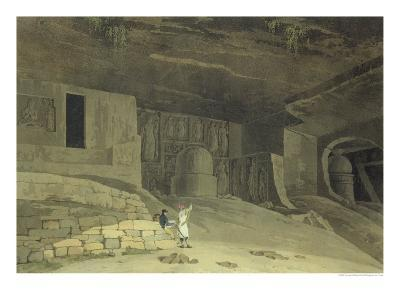"""Part of the Kanaree Caves, Salsette, from """"Oriental Scenery: Twenty Four Views in Hindoostan"""", 1800-Thomas & William Daniell-Giclee Print"""