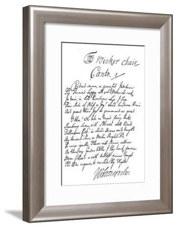Part of the Poem of the Wicker Chair, by William Somerville, 1840--Framed Giclee Print