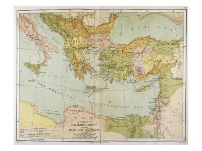 Part of the Roman Empire, Showing St Paul's Journeys--Giclee Print