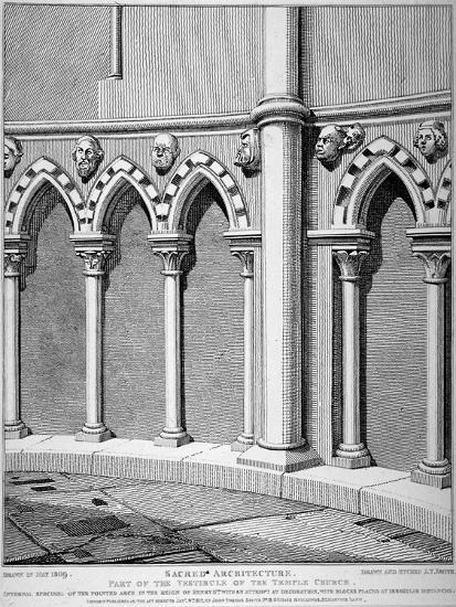 Part of the Vestibule of the Temple Church, City of London, 1812-John Thomas Smith-Giclee Print