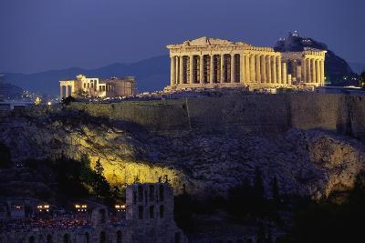 Parthenon Illuminated at Dusk-Paul Souders-Photographic Print